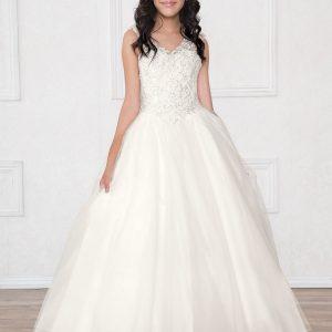 V Neck Girls Beaded Prom Gown Off White