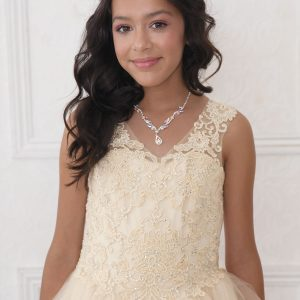 V Neck Girls Beaded Prom Gown Scoop Back Champagne