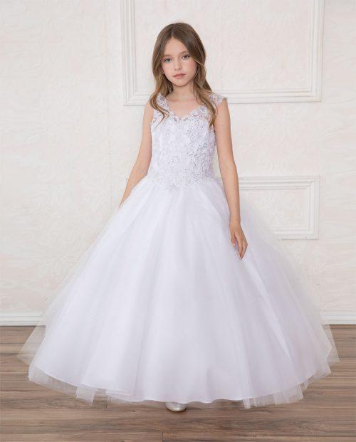 V Neck Girls Beaded Prom Gown White