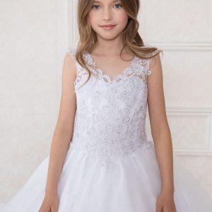 V Neck Girls Beaded Prom Gown White Scooped Back