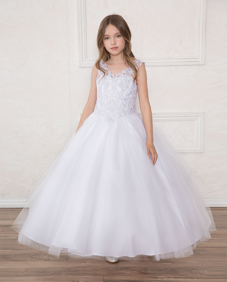 V Neck Girls Beaded Prom Gown White