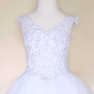 V Neck Girls Beaded White First Communion or Prom Gown