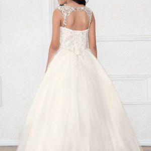 V Neck Off White Girls Beaded Prom Gown