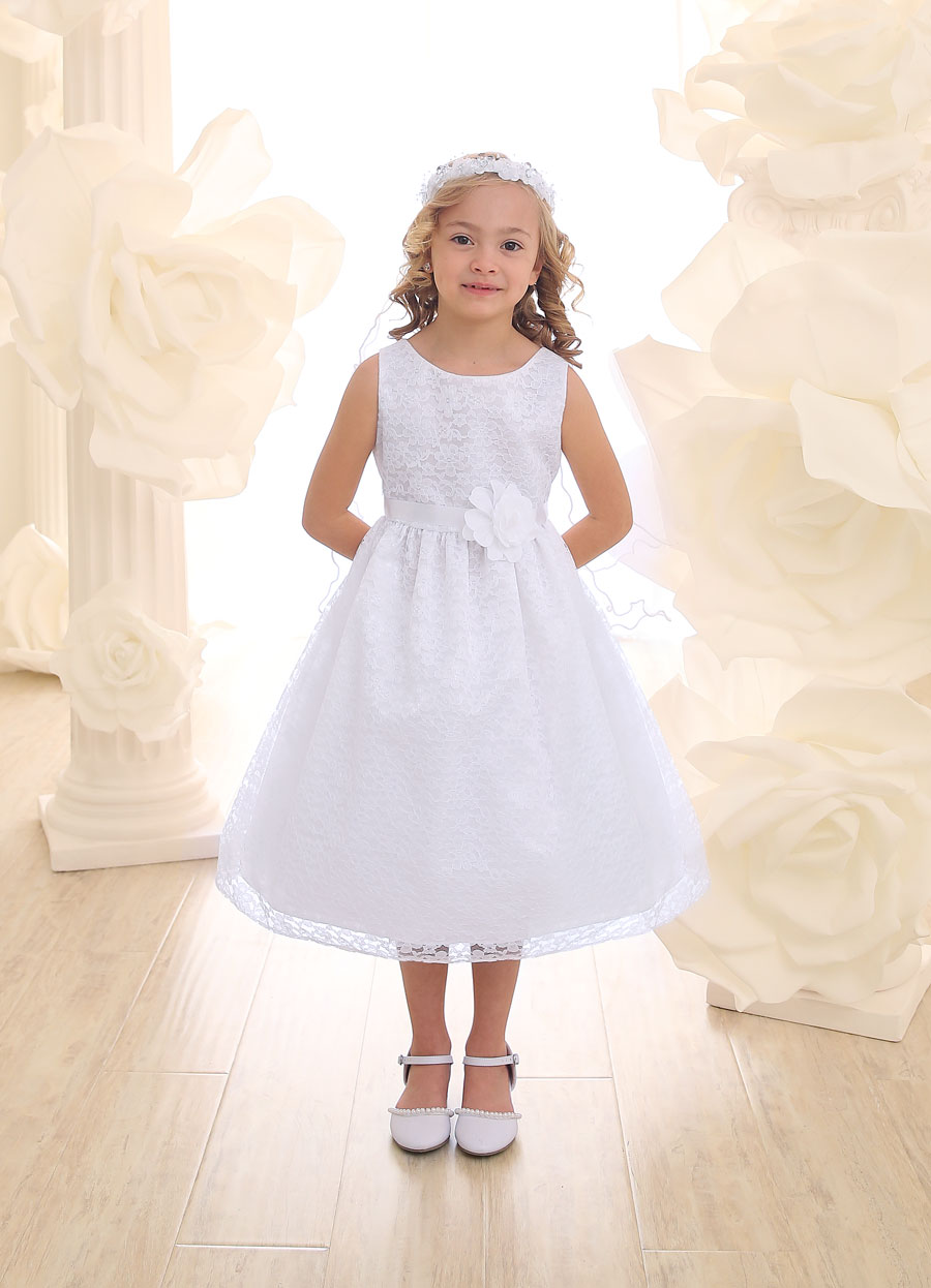 White First Communion or Flower Girl Dress Floral Lace Overlay