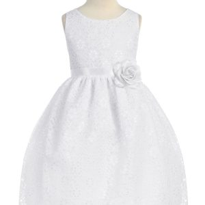 White Flower Girl Dress Floral Lace Overlay