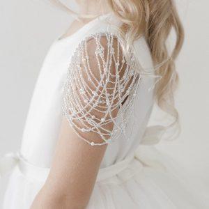 Designer Communion Dress with Draped Bead Sleeves
