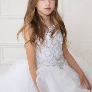 Designer First Communion Dress Multi Layered Skirt Rhinestone Halter Bodice
