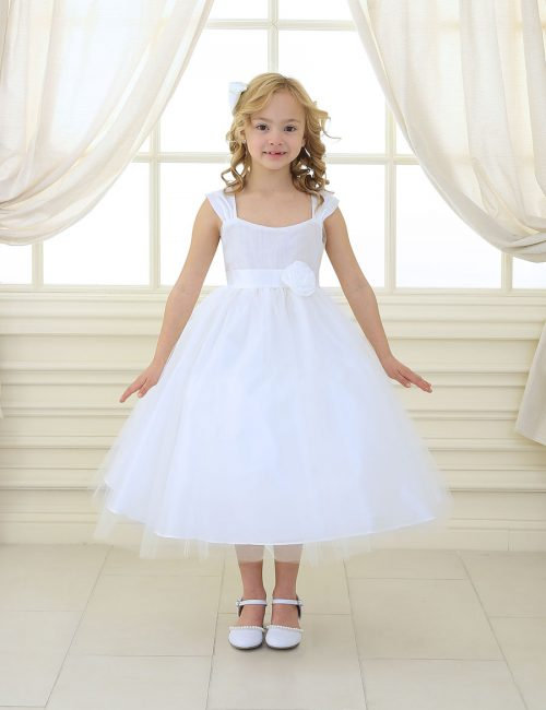 Ballerina First Communion Dress with Gathered Bodice