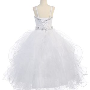 First Communion Petal Dress with Beaded Halter Bodice