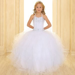 Girls First Communion Dress with Beaded Halter Bodice