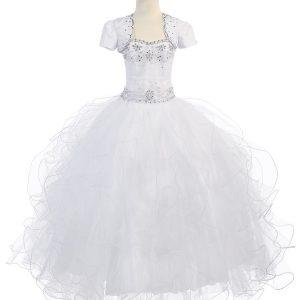 White Communion Dress with Beaded Halter Bodice