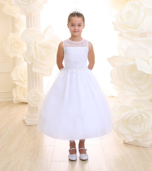 First Communion Dress Floral Waist with Tulle Skirt