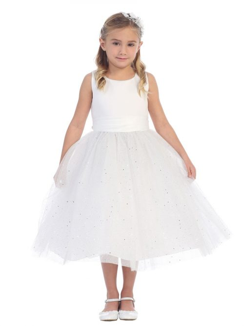First Communion Dress with Glitter Skirt