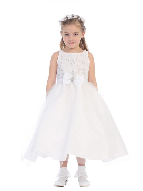 First Communion Dress Bow Glitter Tulle Skirt