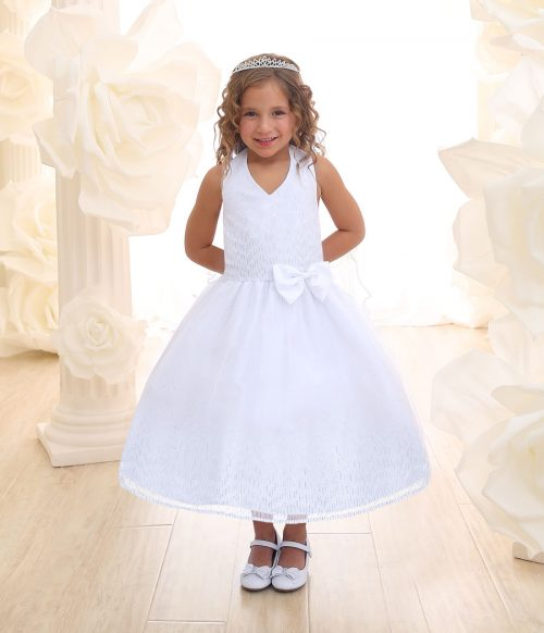 First Communion Dress Halter Bodice with Raindrop Sparkles