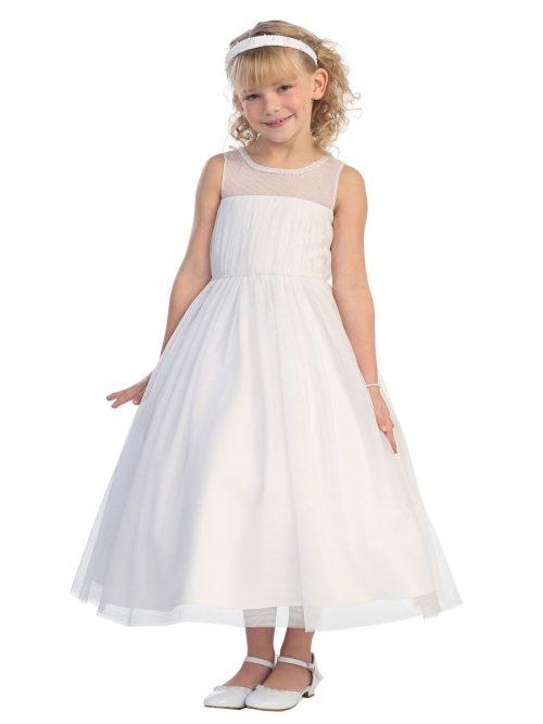 First Communion Dress Mesh Bodice Illusion Neckline