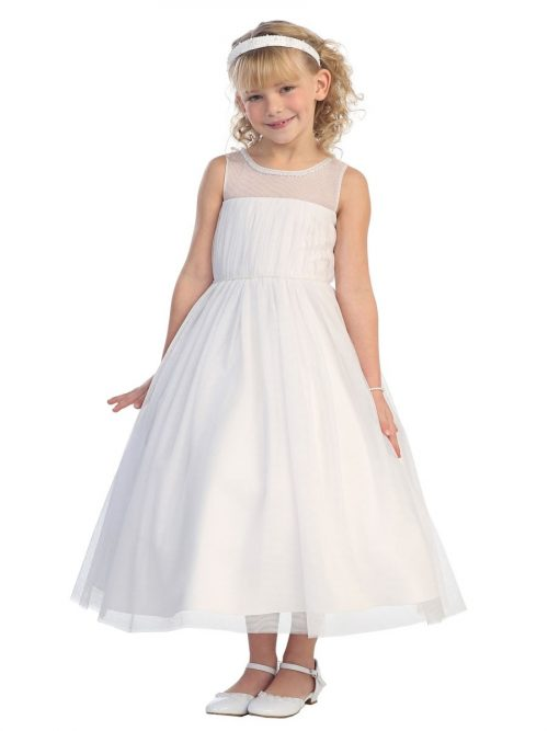 First Communion Dress Mesh Bodice Illusion Neckline
