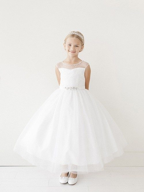 First Communion Dress Rhinestone Belt Illusion Neckline