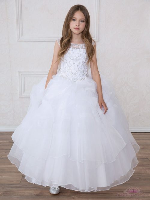 First Communion Dress Multi Layered Skirt Rhinestone Halter Bodice