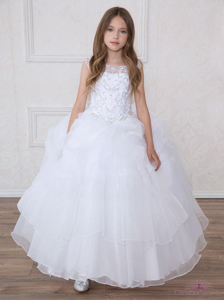 First Communion Dress Multi Layered Skirt Rhinestone Halter Bodice