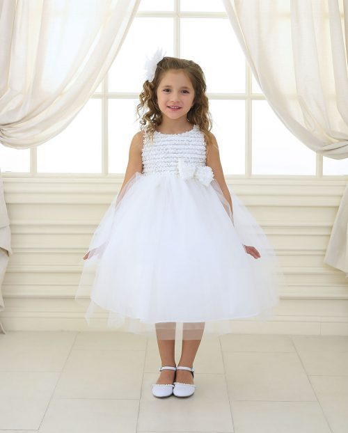 First Communion Dress Ruffled Bodice and Bow