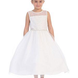 First Communion Dress Sheer Neckline Rhinestone Trim