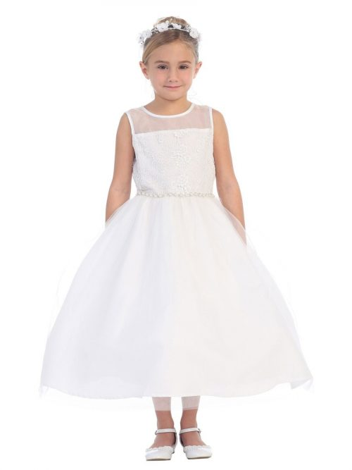 First Communion Dress Sheer Neckline Rhinestone Trim