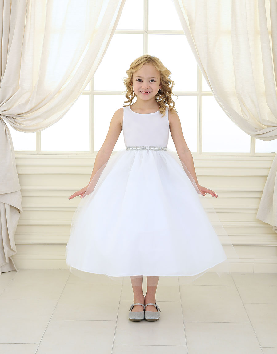 First Communion Dress Shiny Waist Band and Tulle Skirt