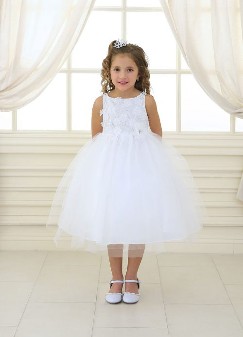 First Communion Dress Sequined Bodice Tulle Skirt