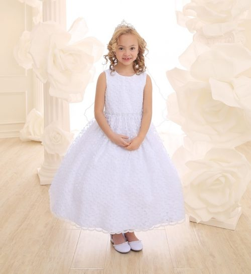 First Communion Dress with Allover Lace