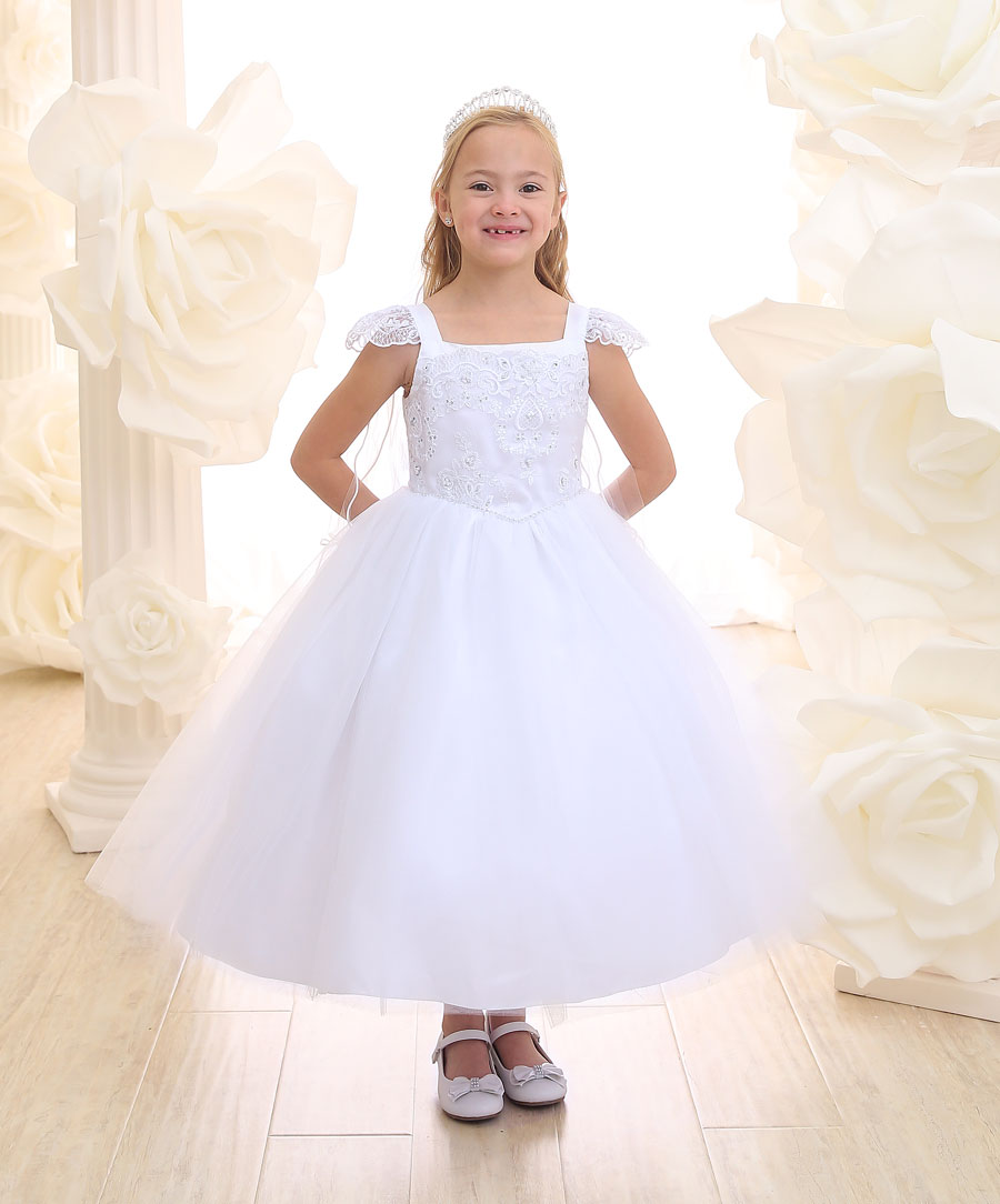 First Communion Dress with Cap Sleeves Beaded Bodice