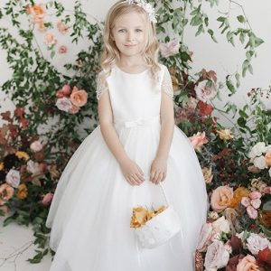 First Communion Dress with Pearl Beaded Sleeves
