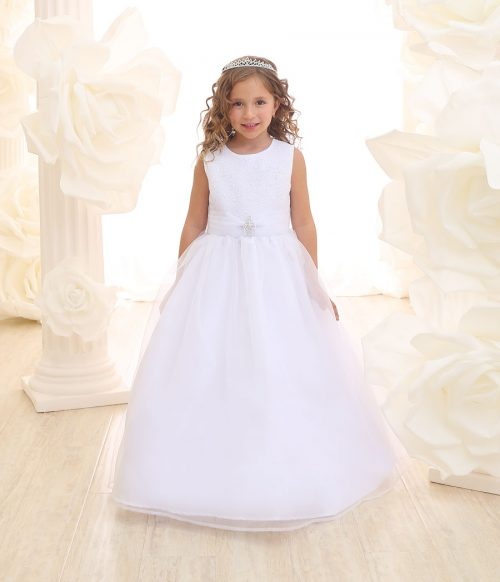 First Communion Dress with Glitter Fabric Bodice Full Length