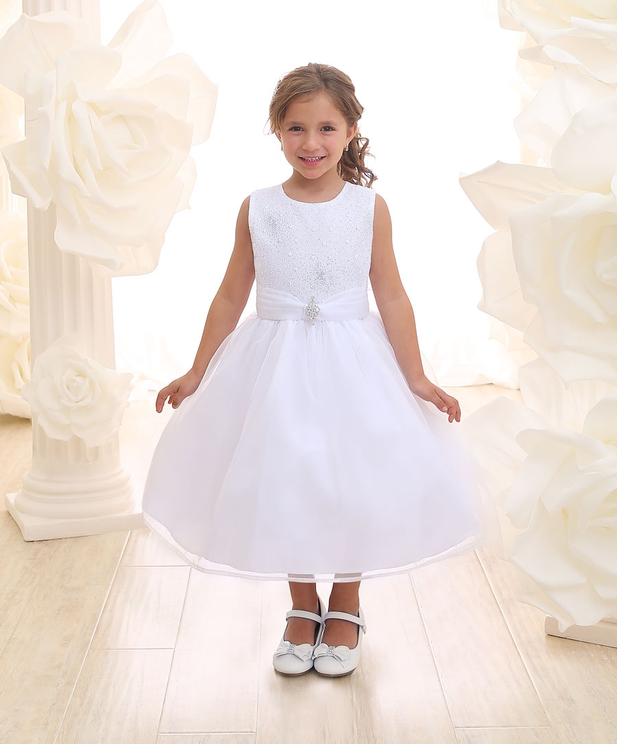 First Communion Dress with Glitter Fabric Bodice
