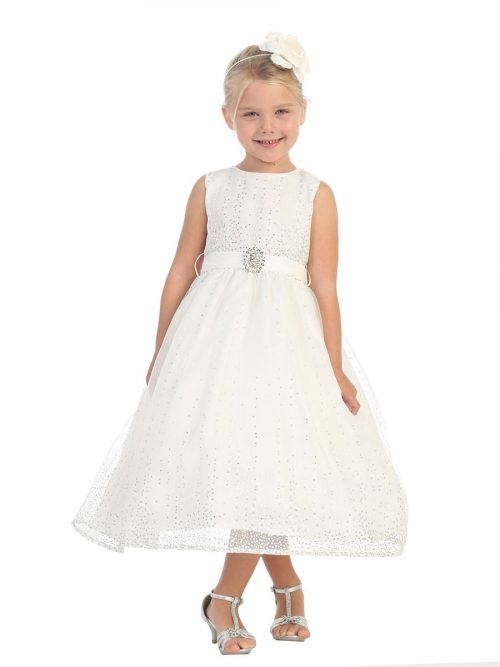 First Communion Dress with Glitter Tulle Skirt