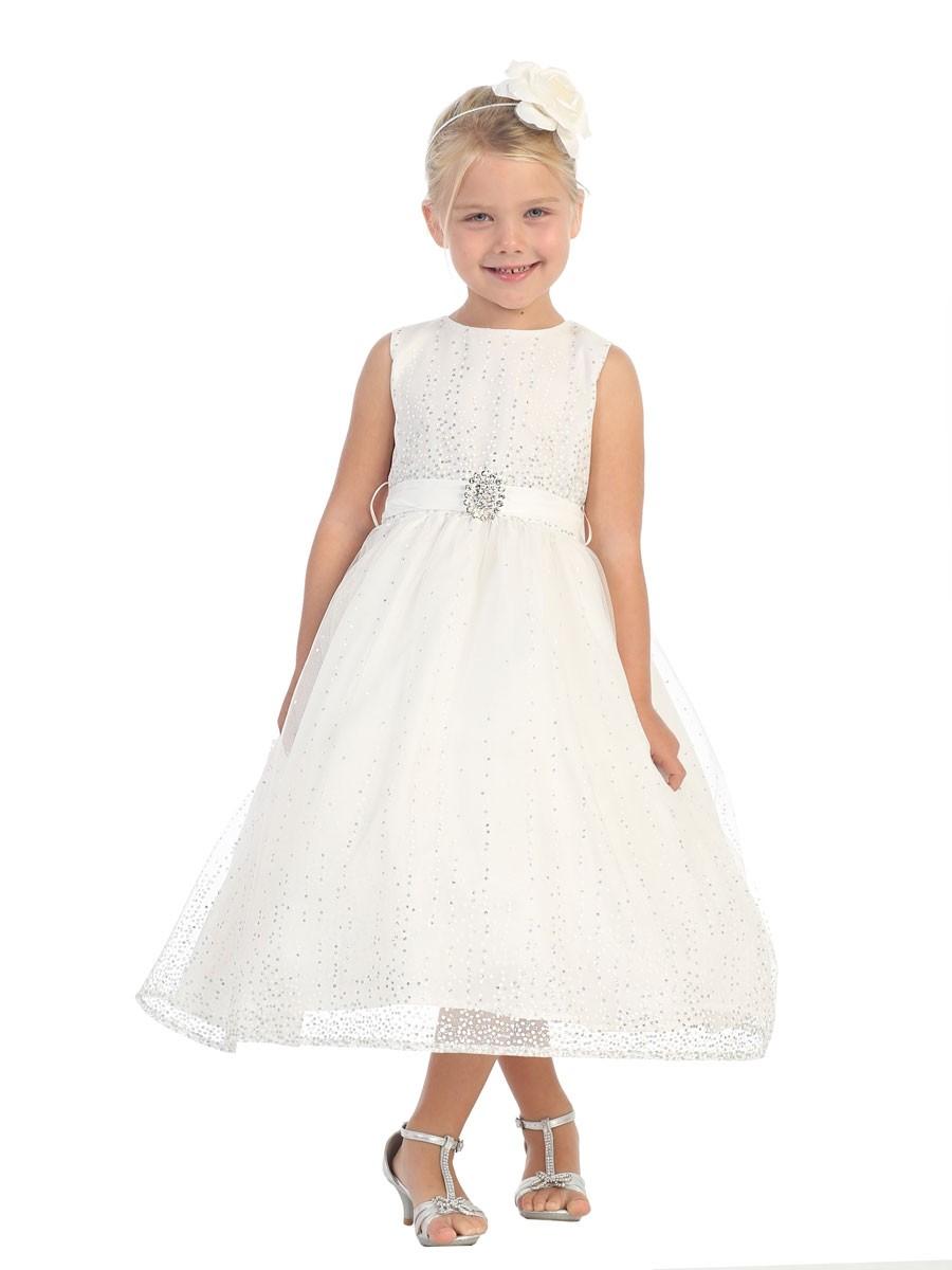 ad8db9ca First Communion Dress Glitter Tulle Skirt