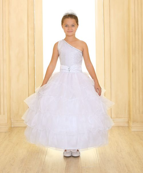 First Communion Dress One Shoulder with Layered Skirt