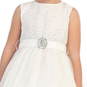 First Communion Dress with Rhinestone BroochTulle Skirt