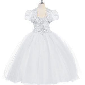 First Communion Dress with Sweetheart Neckline Corset Back Satin Jacket
