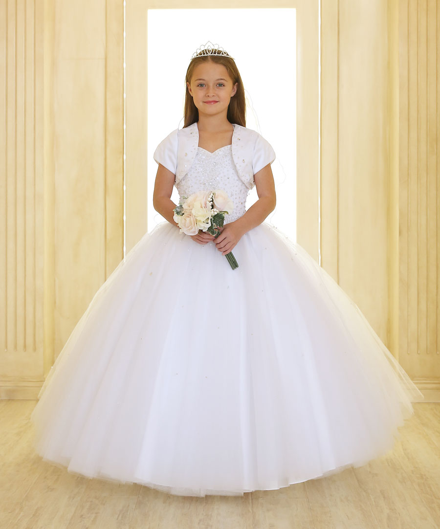 First Communion Dress with Tulle Skirt Sweetheart Neckline