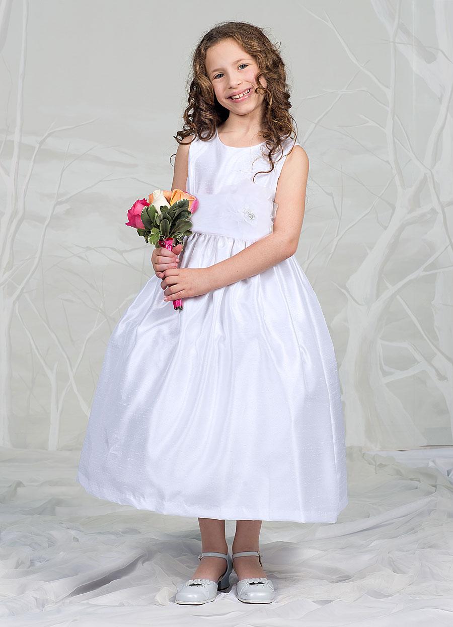 Silk First Communion Dress with Sash