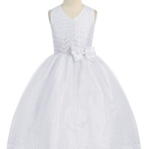 First Holy Communion Dress Halter Bodice with Raindrop Sparkles