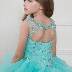 Full Length Pageant Dress Multi Layered Skirt Rhinestone Halter Bodice