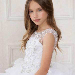 Full Length White First Communion Dress Rhinestone Halter Bodice