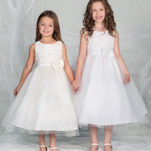 Girls Communion Dress Ruffled Bodice and Bow