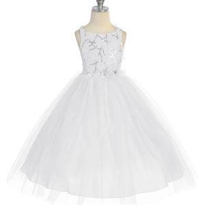 Girls Communion Dress Tulle Skirt Sequined Bodice