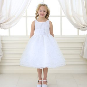 Girls first communion dress embroidered floral double layer skirt