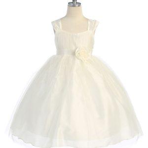 vory Ballerina Communion Dress with Gathered Bodice
