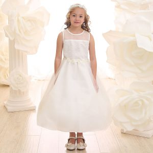 Ivory Communion Dress Floral Waist with Tulle Skirt