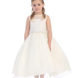 ivory First Communion Dress Sheer Neckline Rhinestone Trim